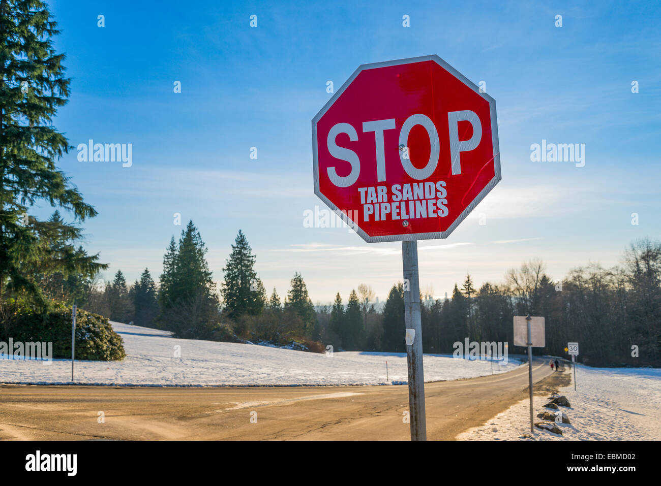 Stop sign,  near Burnaby Mountain anti-pipeline protest camp, Burnaby, British Columbia, Canada - Stock Image