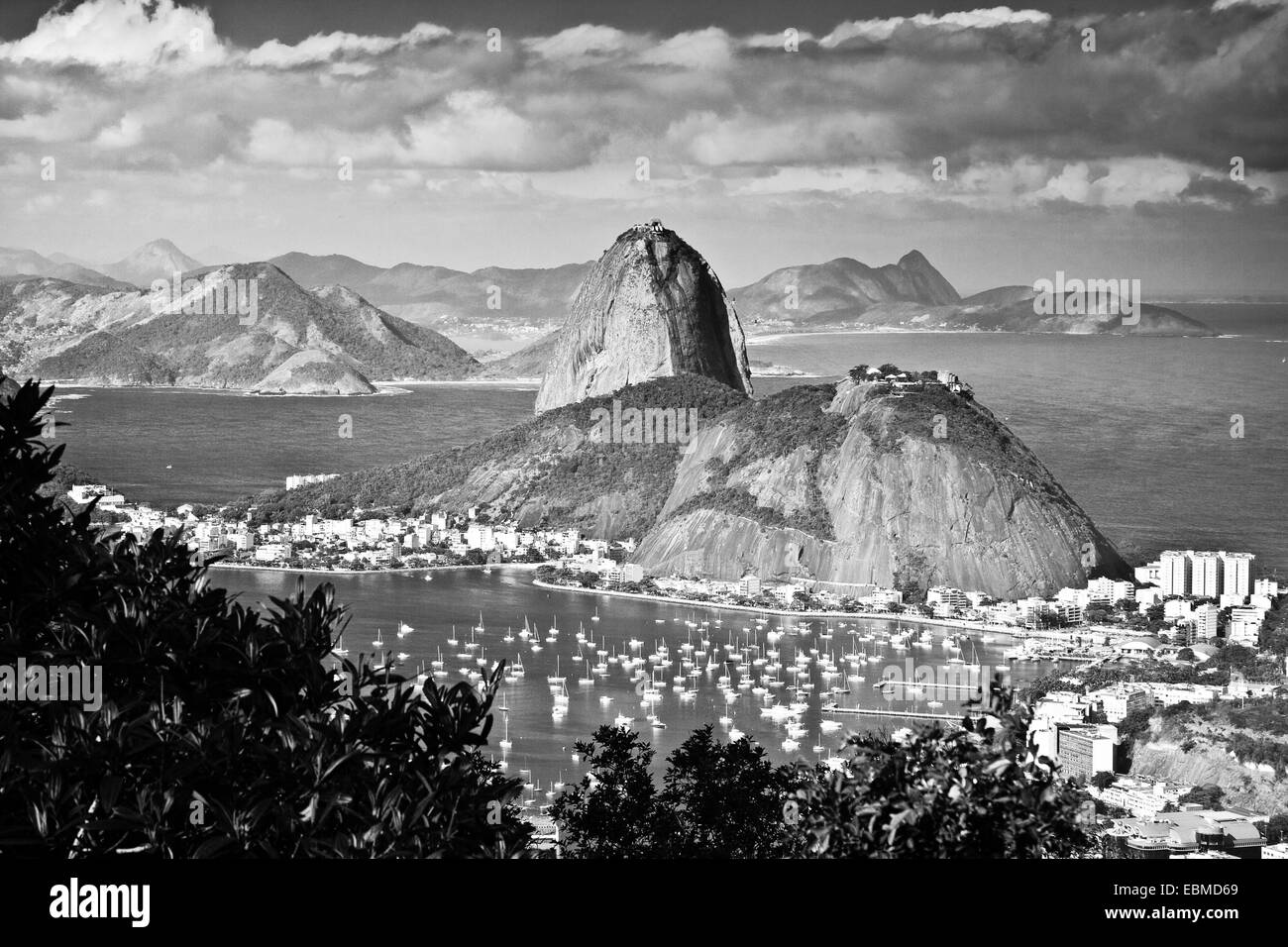 Black and white scenic aerial view of rio de janeiro city showing harbor and sugarloaf mountain brazil