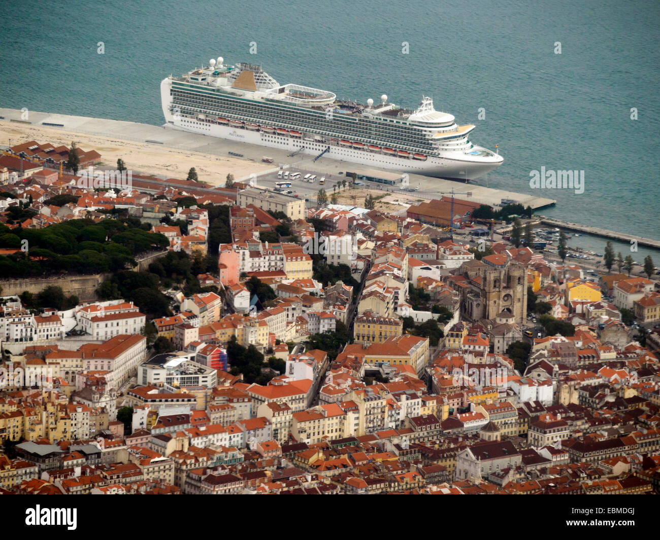 Aerial view of the P&O Azura cruise ship docked in the port of Lisbon, Portugal, Europe Stock Photo