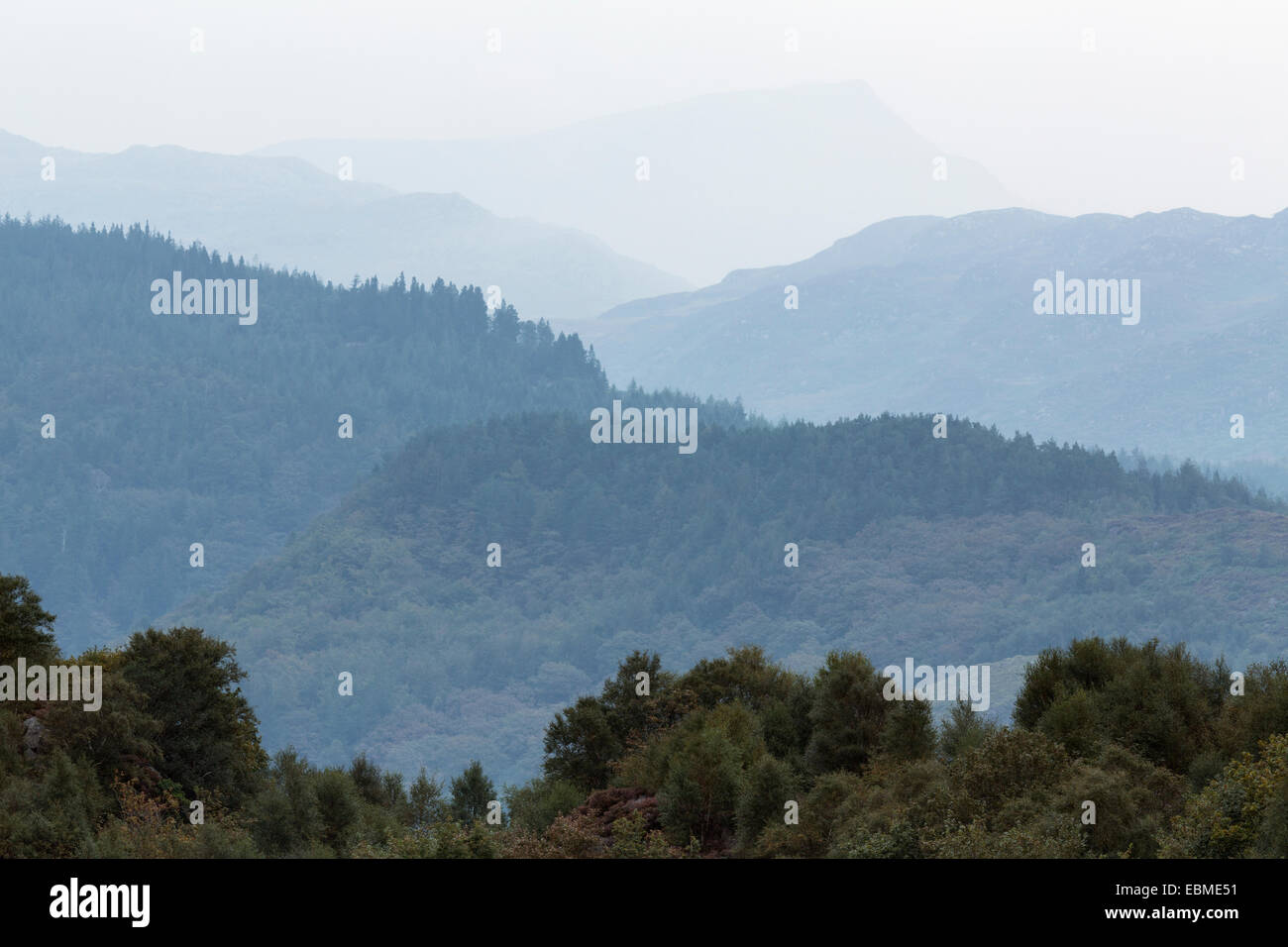 Aerial Perspective with haze turning the trees blue in Snowdonia, North Wales. Stock Photo
