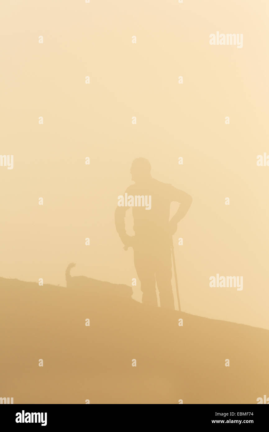 One man and his dog are silhouetted through fog. The setting sun turns the fog orange. Stock Photo