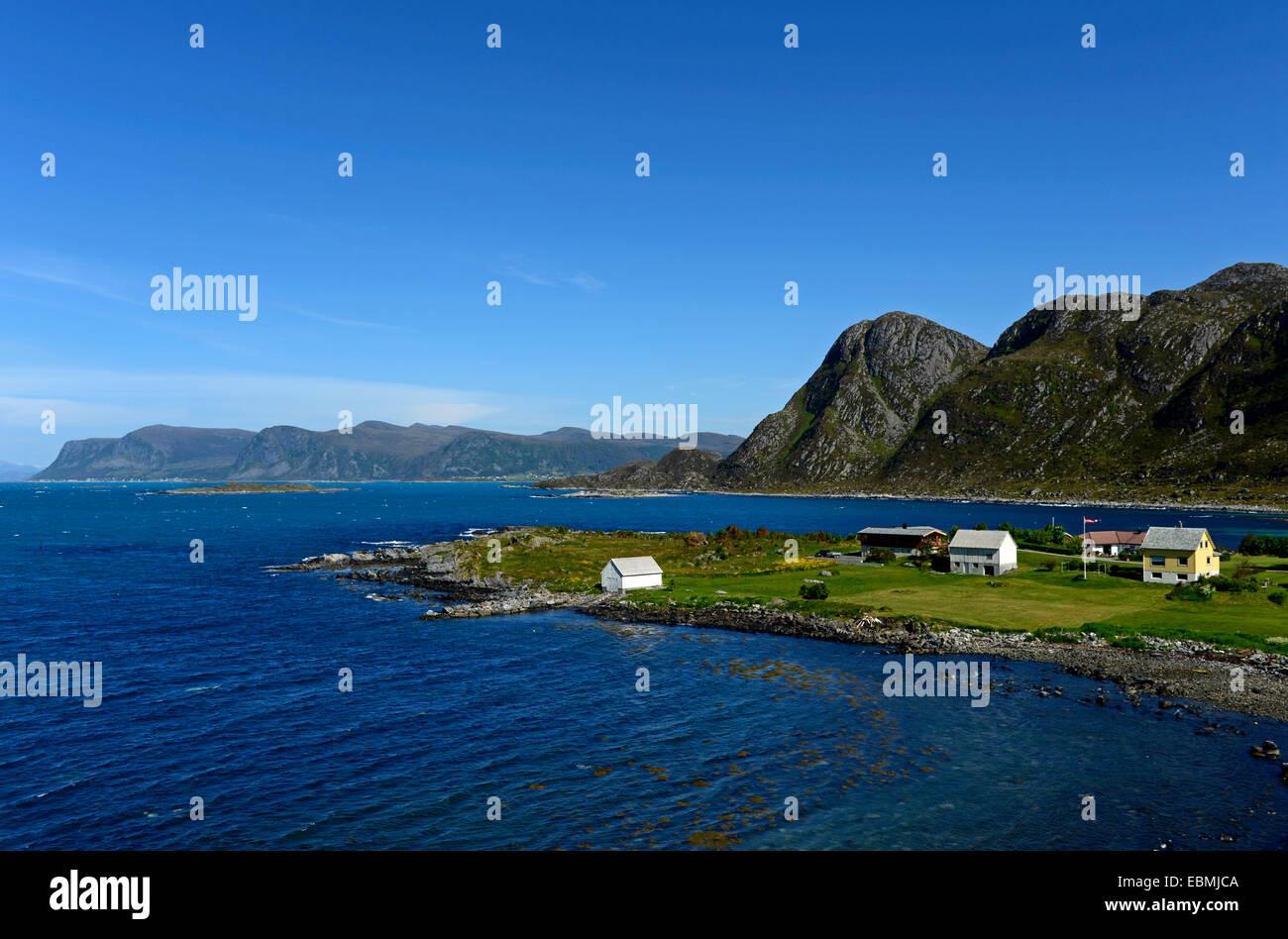 Settlement on the island Leinøy, Herøy, Møre og Romsdal, Norway - Stock Image