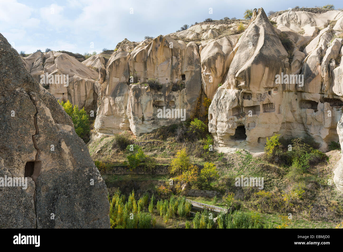 Cave dwellings in the Göreme Open Air Museum, UNESCO World Heritage Site, Cappadocia, Nevsehir Province, Turkey - Stock Image