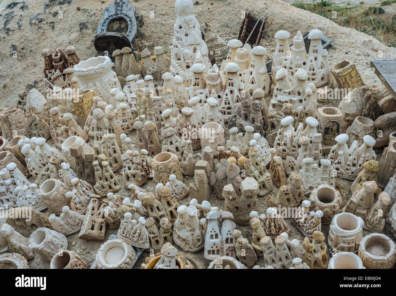 Souvenirs made of tufa, Göreme, Cappadocia, Nevsehir Province, Turkey - Stock Image