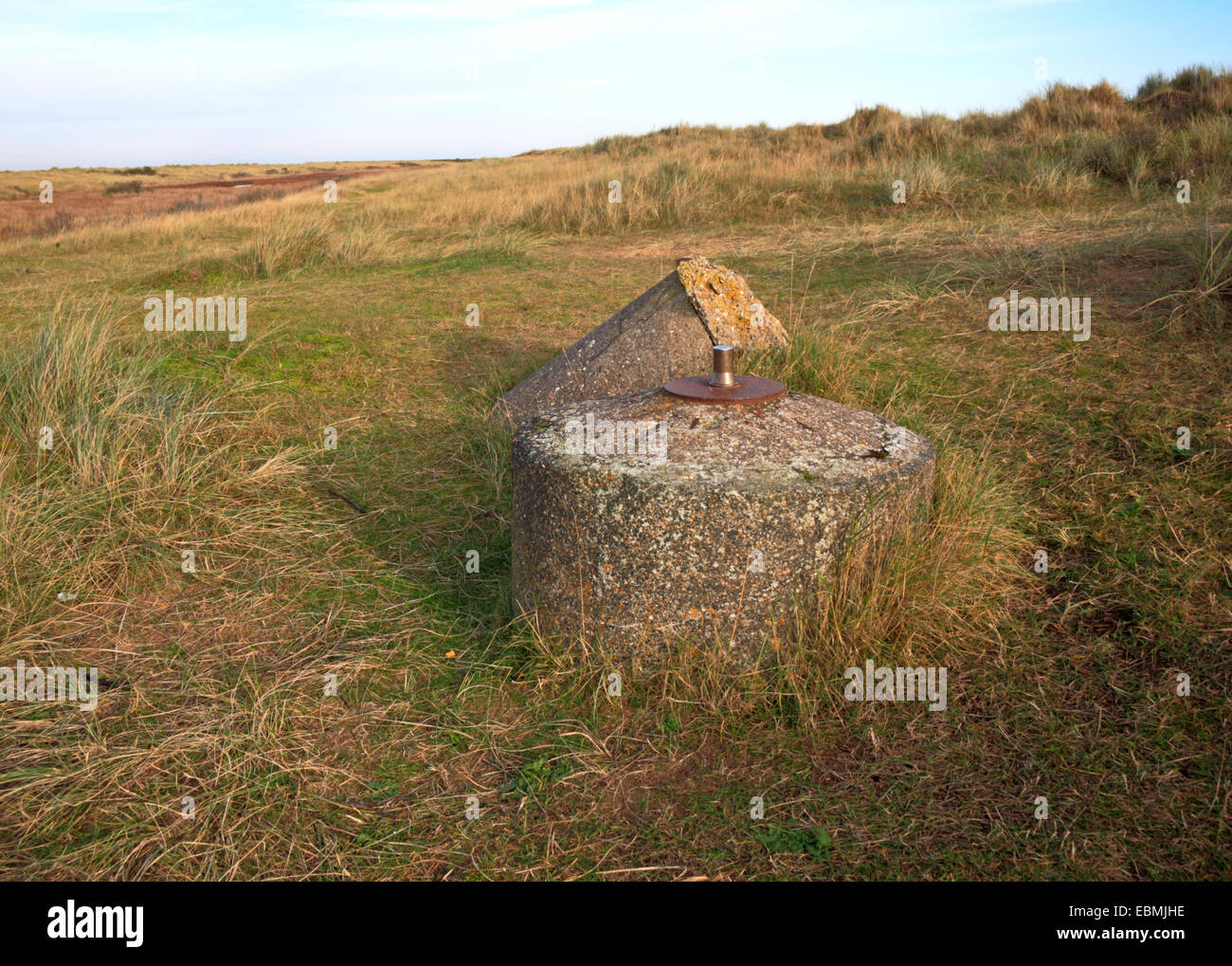 A World War Two spigot mortar emplacement at Holme next the Sea, Norfolk, England, United Kingdom. - Stock Image