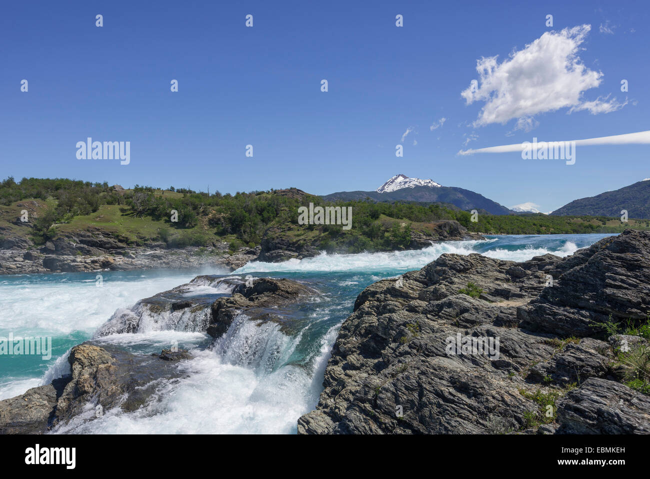 Rapids of the Baker River, Cochrane, Aysén Region, Chile - Stock Image