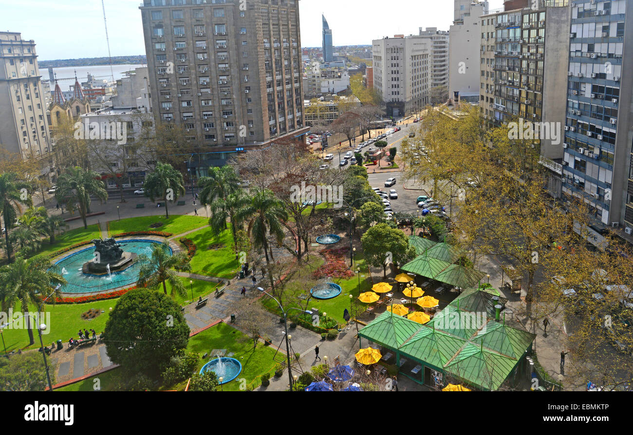 aerial view  on Plaza Fabini Montevideo Uruguay - Stock Image