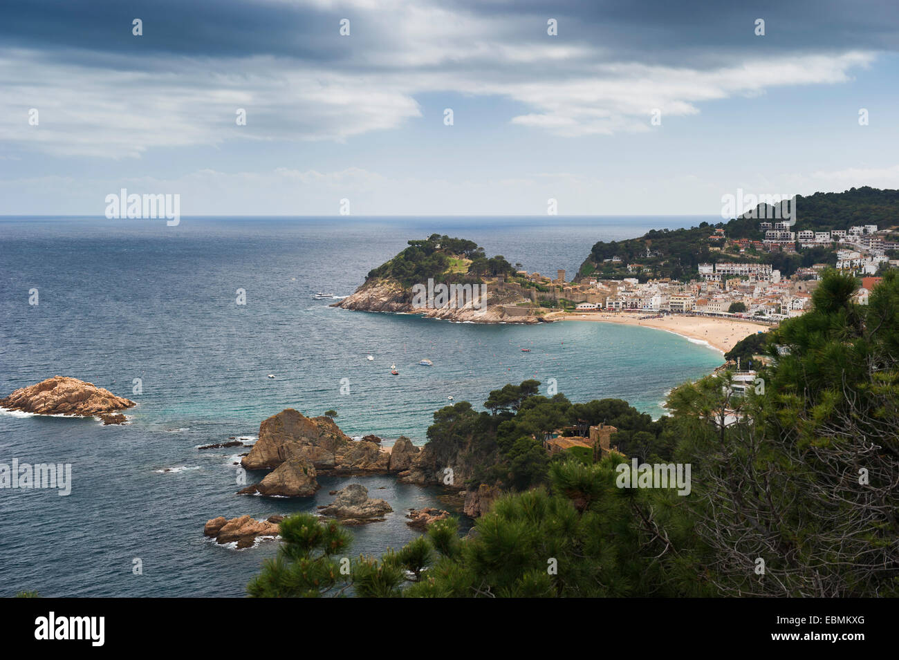 Town with sandy beach near the sea, Tossa de Mar, Costa Brava, Catalonia, Spain - Stock Image