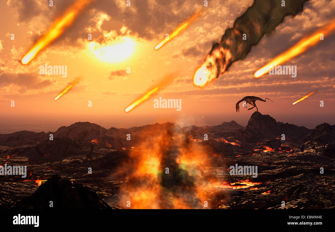 Asteroid & Meteorites Hitting The Earth,During The Late Cretaceous Period. - Stock Image