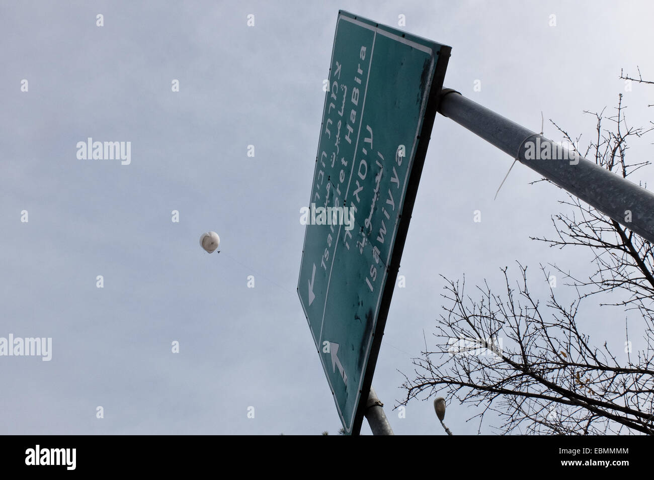 Jerusalem. 3rd December, 2014. Jerusalem Municipality deploys helium balloons equipped with real time video surveillance Stock Photo