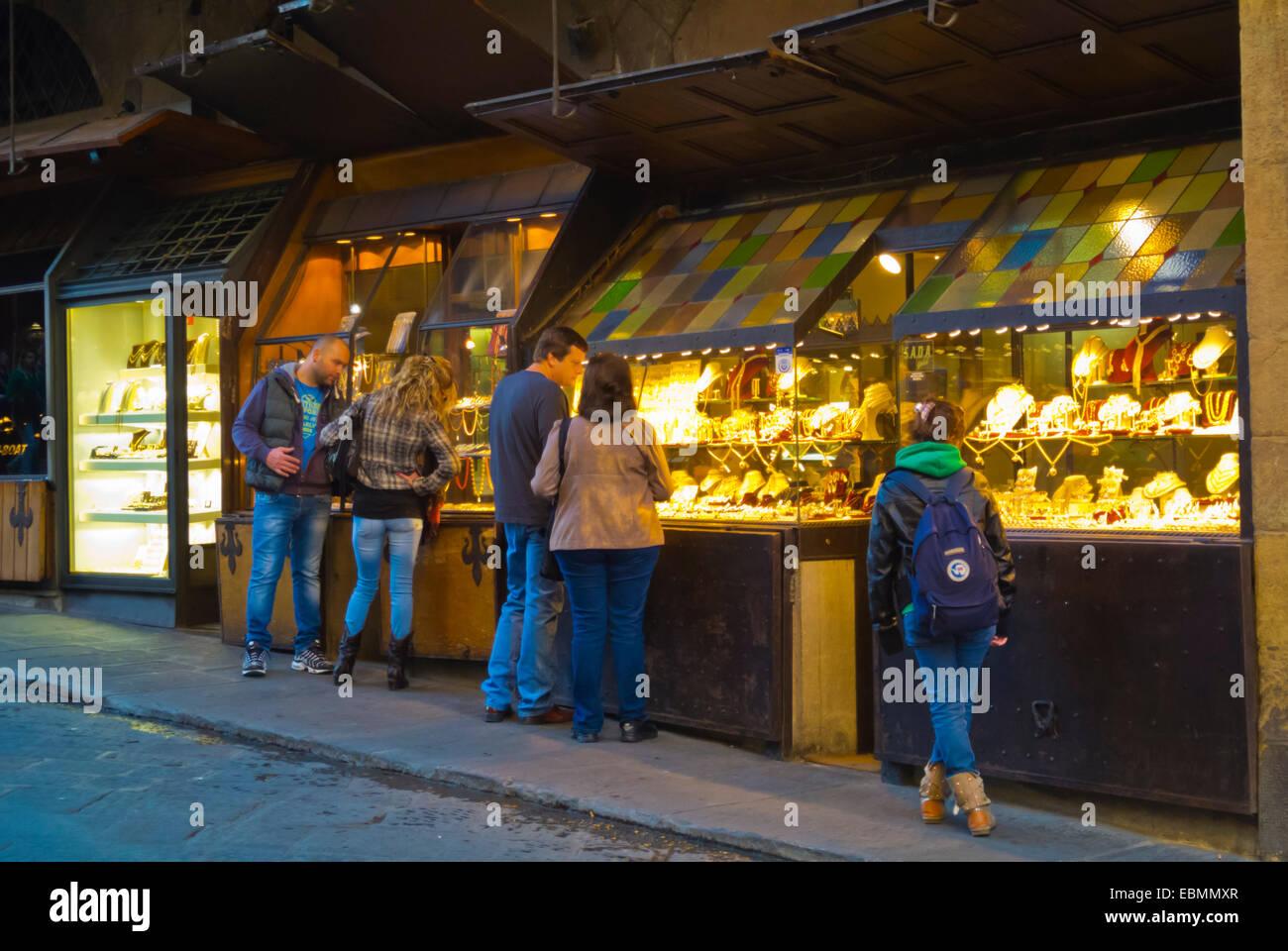 Goldsmith jewelry stores, Ponte Vecchio, old bridge, Florence, Tuscany, Italy - Stock Image