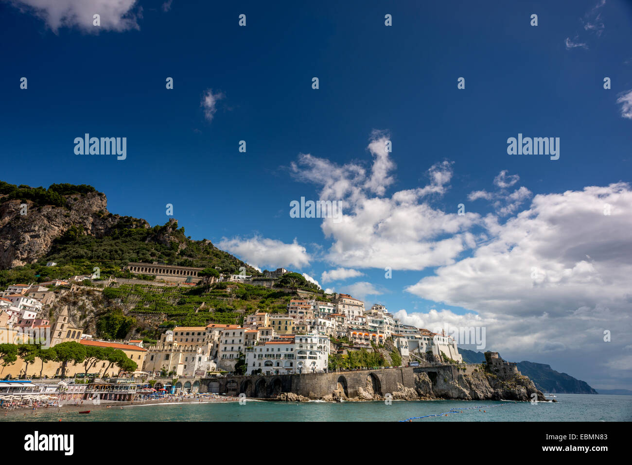 Cliffs at the town of Amalfi in Campania, Italy. - Stock Image