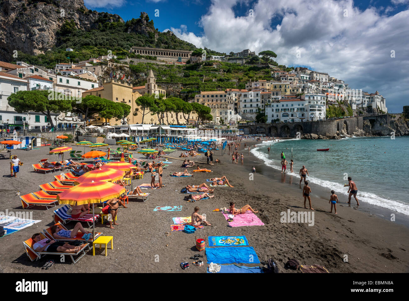 The beach at Amalfi in Campania, Italy. - Stock Image