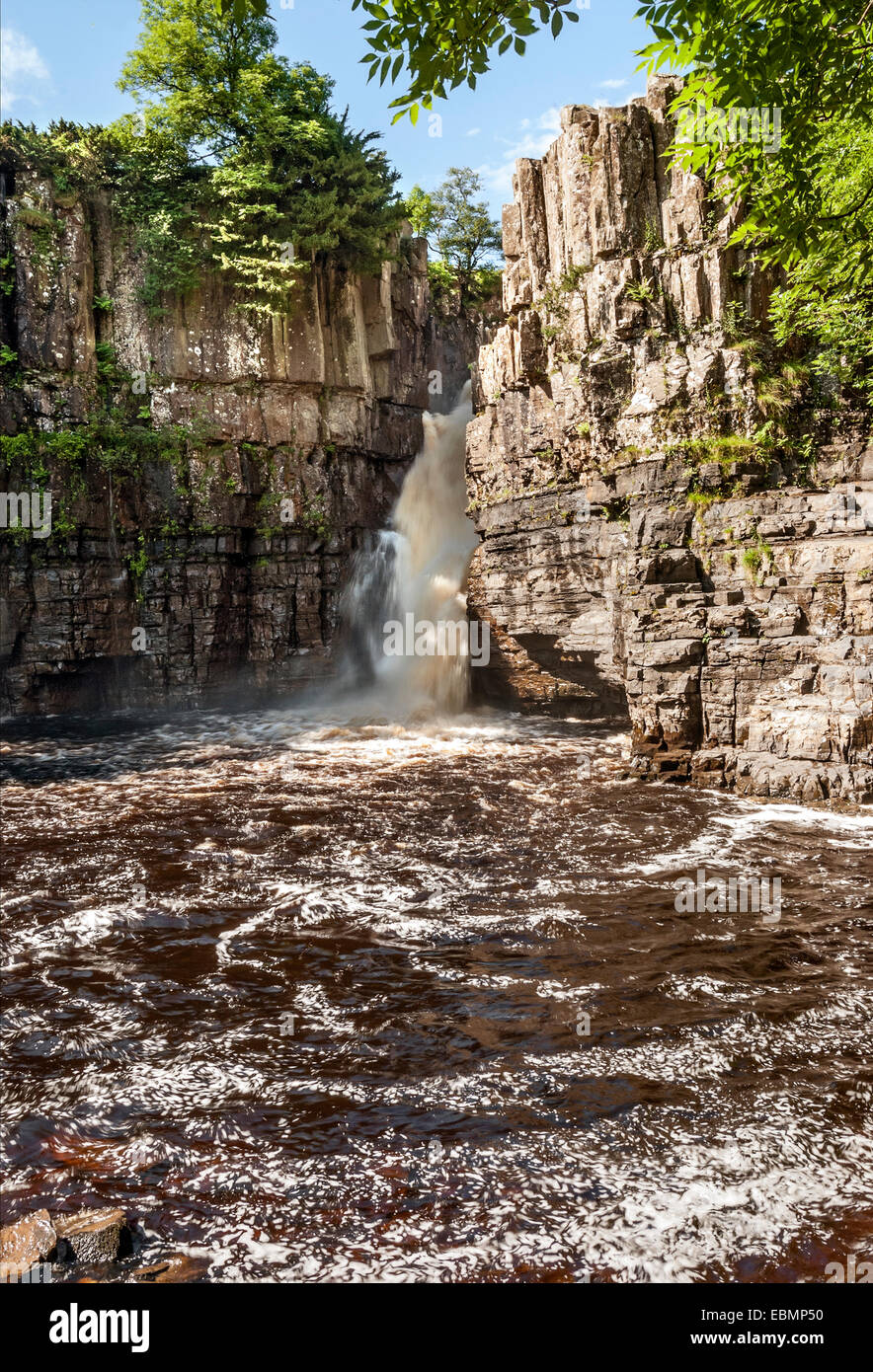 High Force, one of Englands famous Waterfall in Forest-in-Teesdale, North England - Stock Image