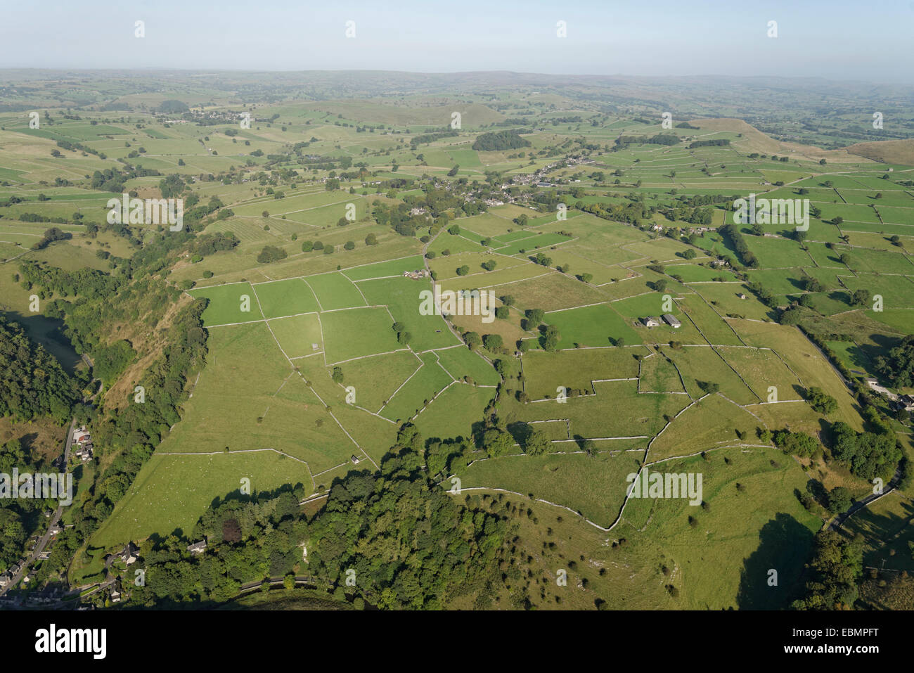 A scenic aerial view of the landscape of the Peak District National Park - Stock Image