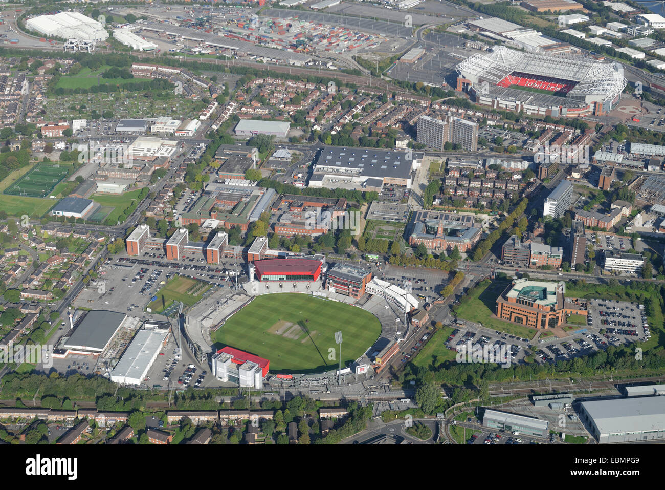 An aerial view of the Old Trafford and Trafford Park areas of Manchester showing both the football and cricket grounds. - Stock Image