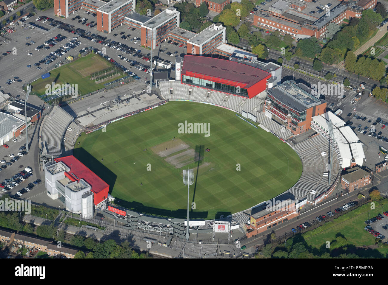 An aerial view of Old Trafford Cricket Ground Manchester. Home of Lancashire County Cricket Club - Stock Image