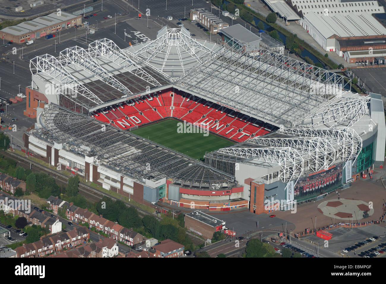 An aerial view of Old Trafford football stadium, home of Manchester United FC - Stock Image