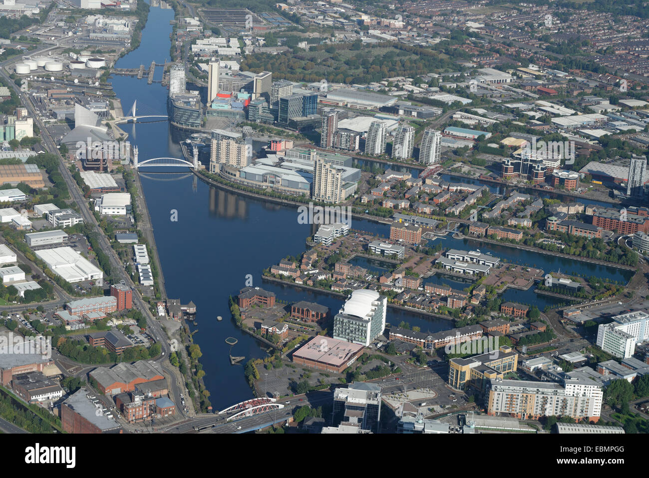 An aerial view of Salford Quays, Manchester - Stock Image
