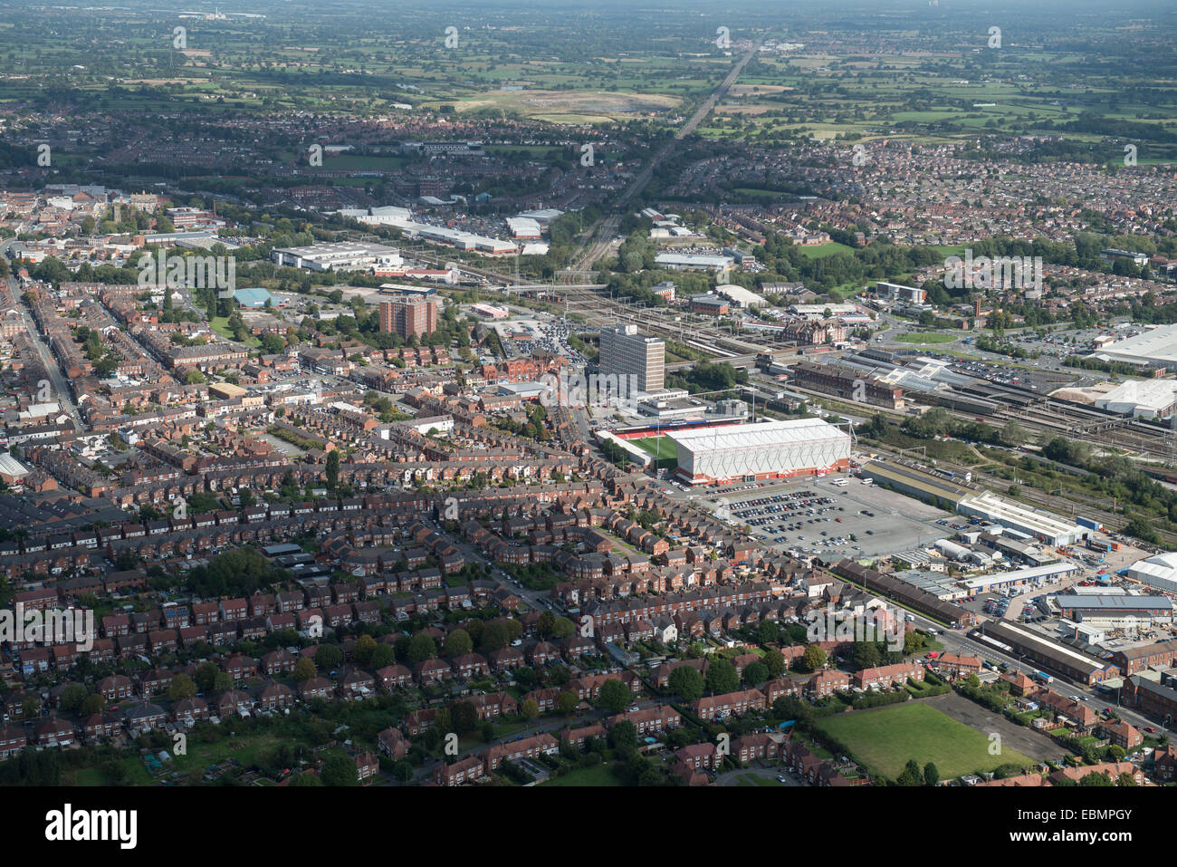 An aerial view of the Cheshire town of Crewe - Stock Image