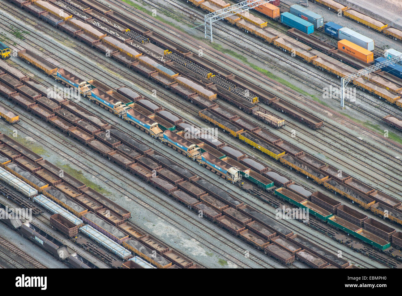 A close up aerial view of a railway marshalling yard just south of Crewe in Cheshire - Stock Image