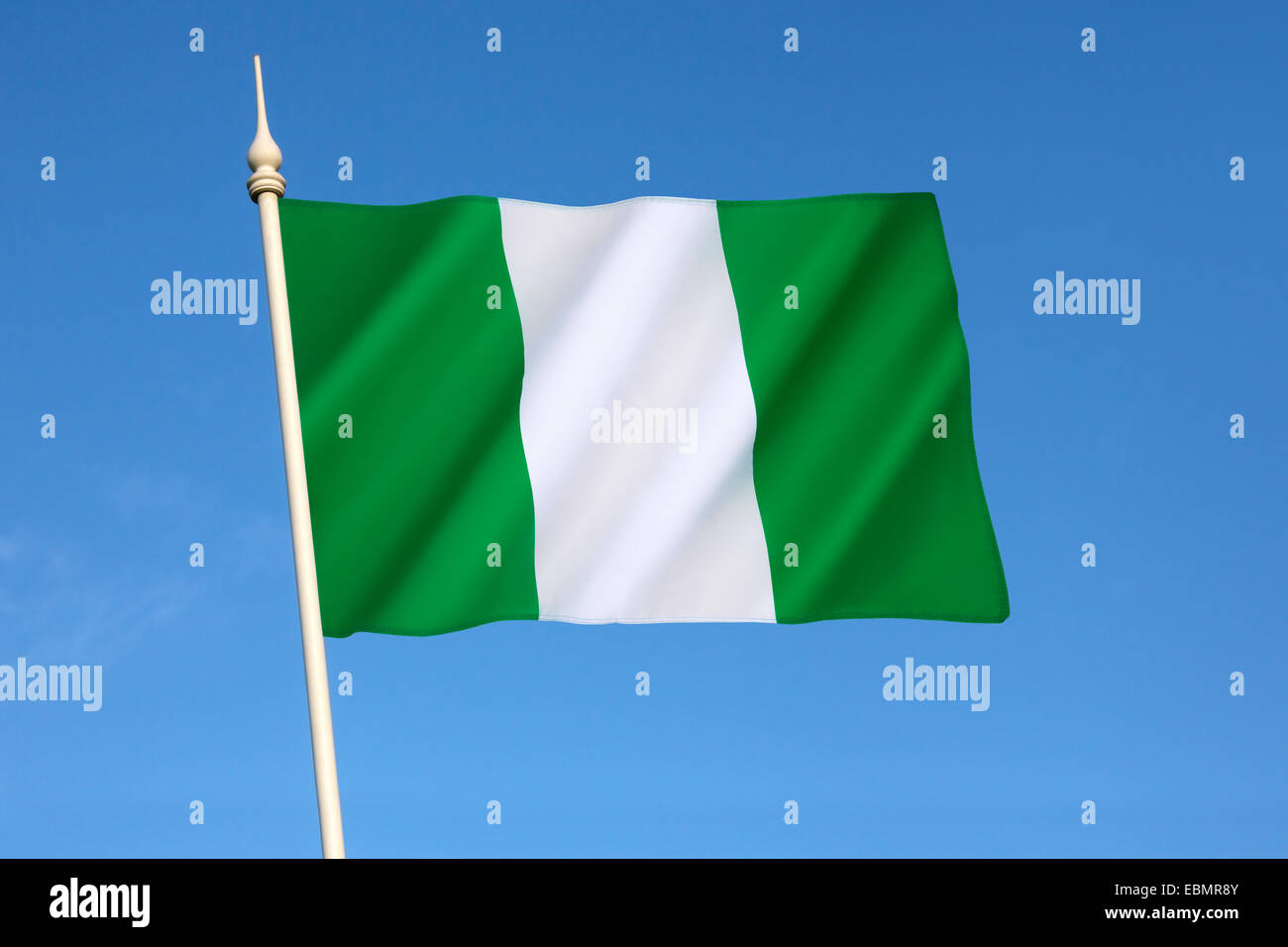 Flag of Nigeria - designed in 1959 and officially adopted on October 1st 1960. - Stock Image