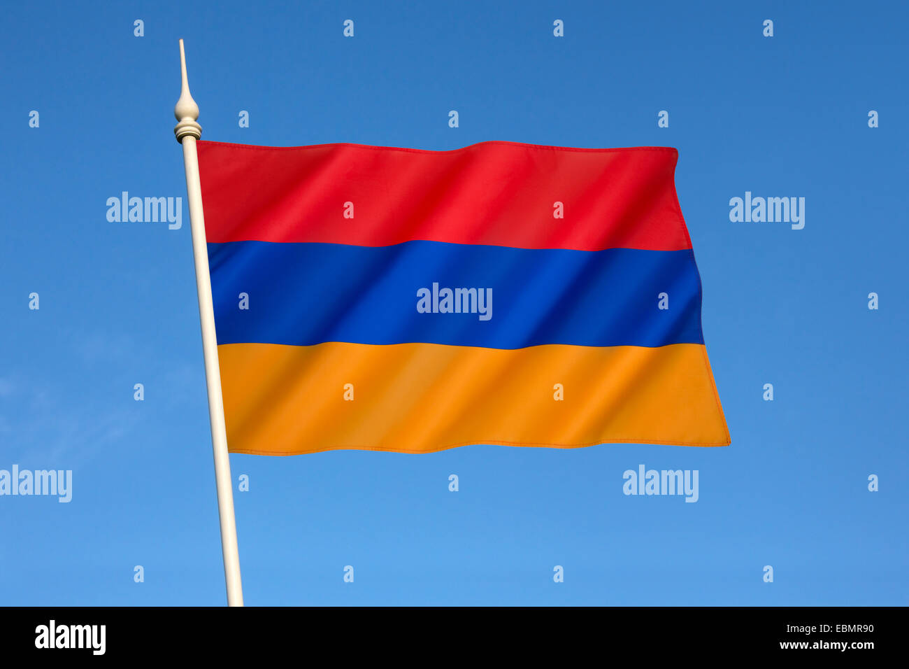 The national flag of Armenia, the Armenian Tricolor or Yeraguyn. - Stock Image