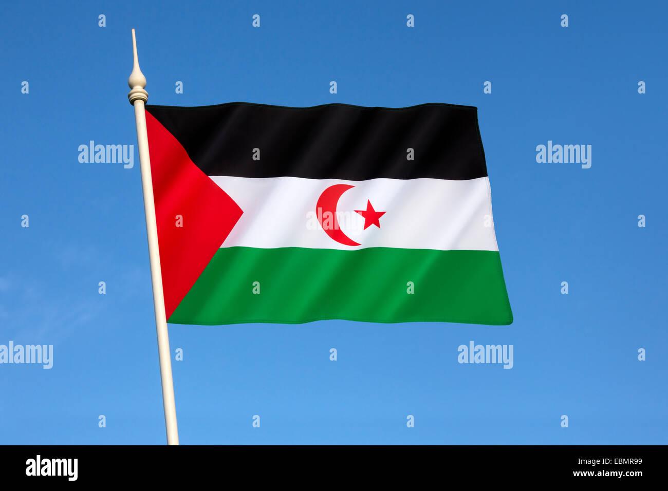 Flag of the Sahrawi Arab Democratic Republic - Western Sahara Stock Photo
