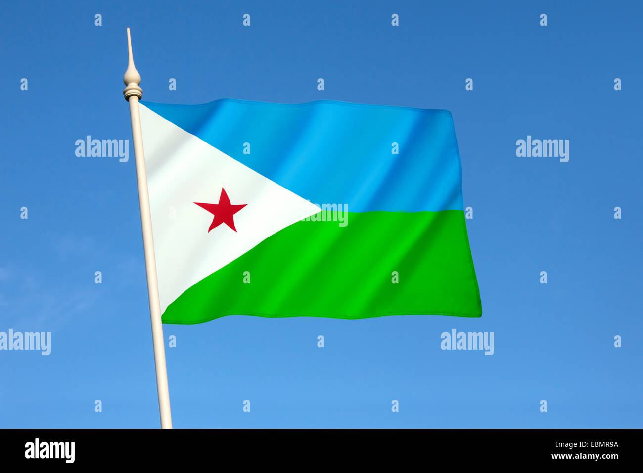 Flag of Djibouti - Stock Image