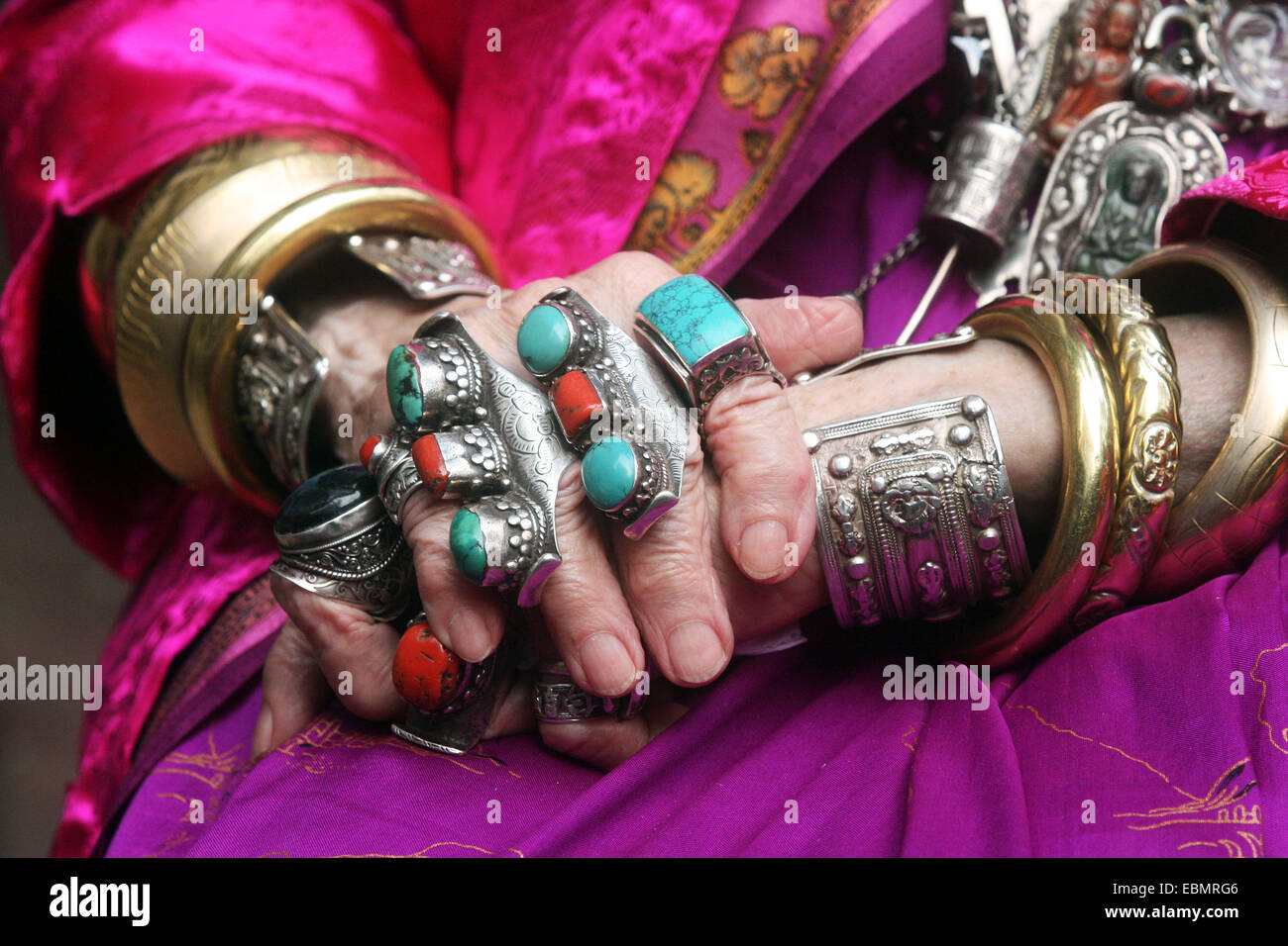 Dhaka 2014.Hands with stone ring. Stock Photo