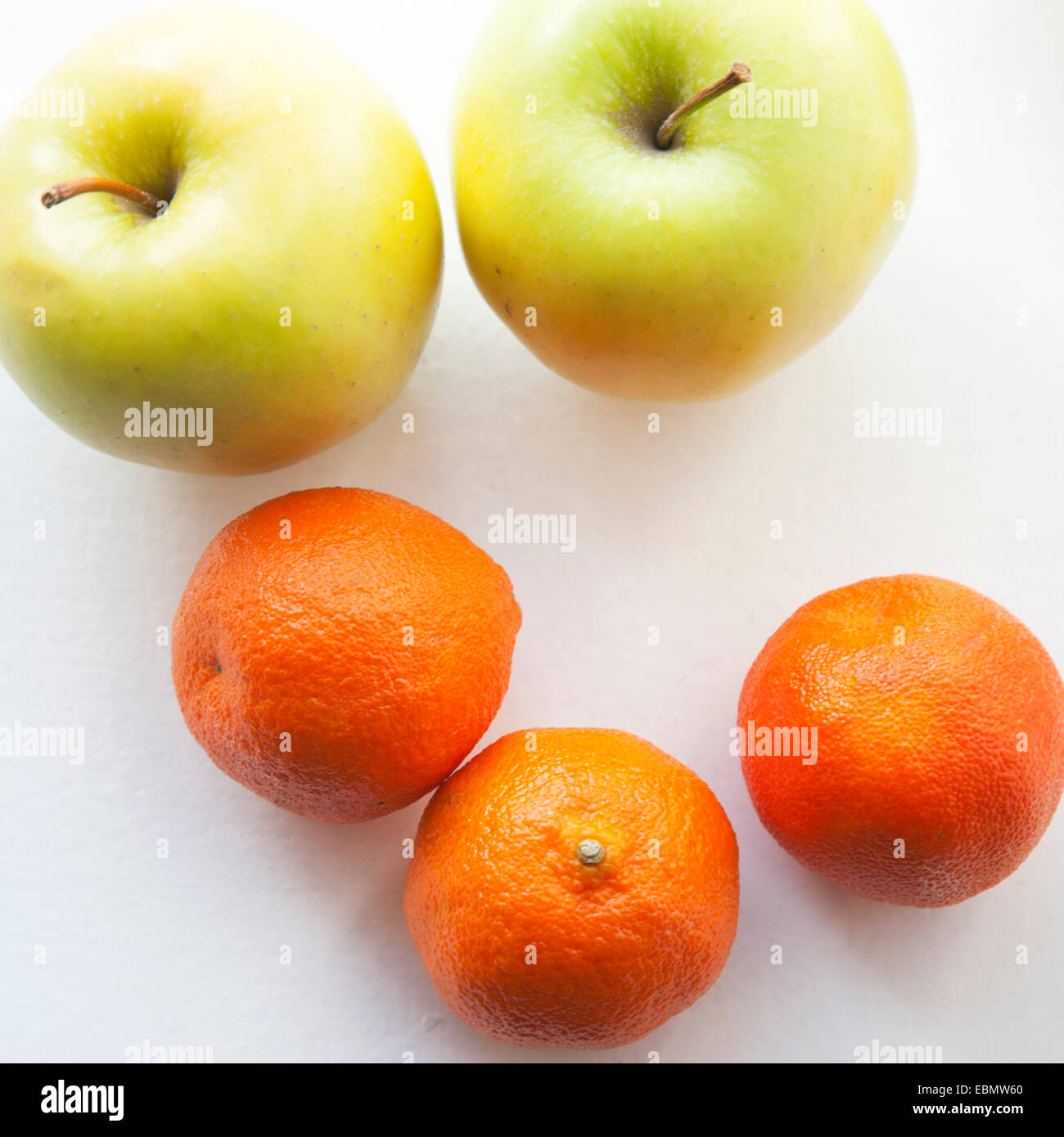 Top view of apples and oranges - Stock Image