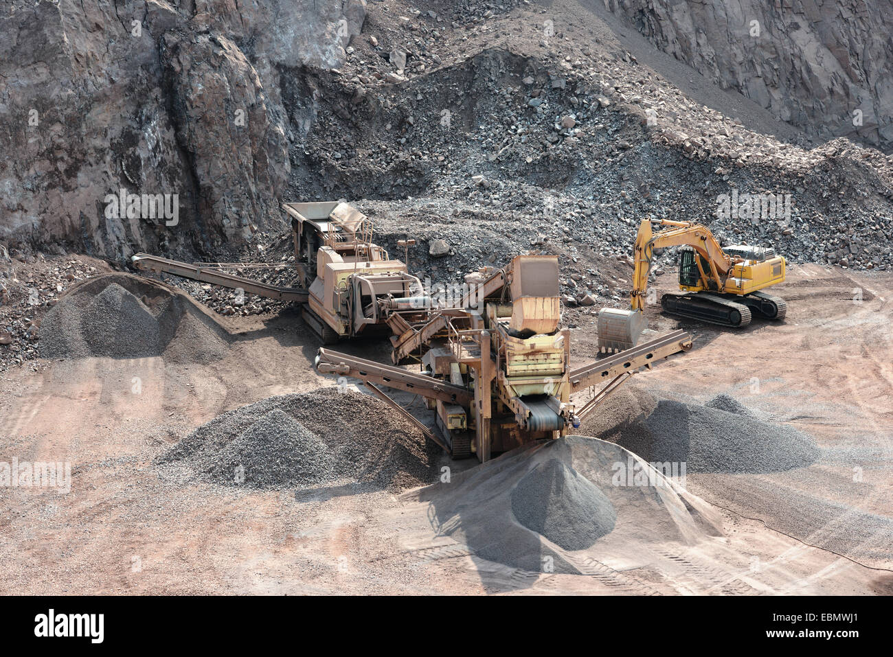 stone crusher in surface mine - Stock Image