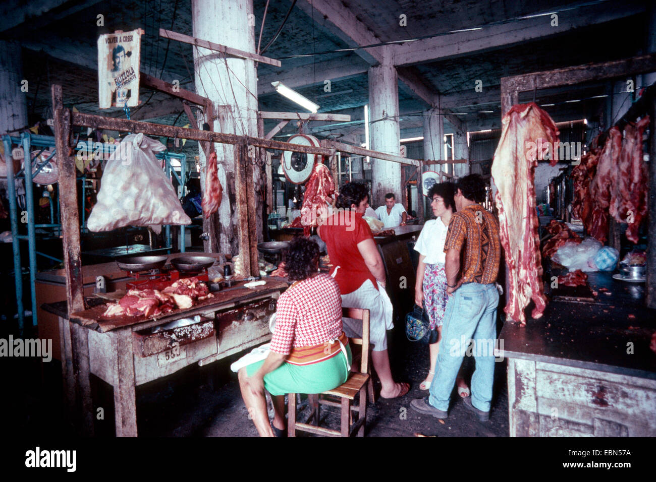 meat market, Paraguay, Asuncion - Stock Image