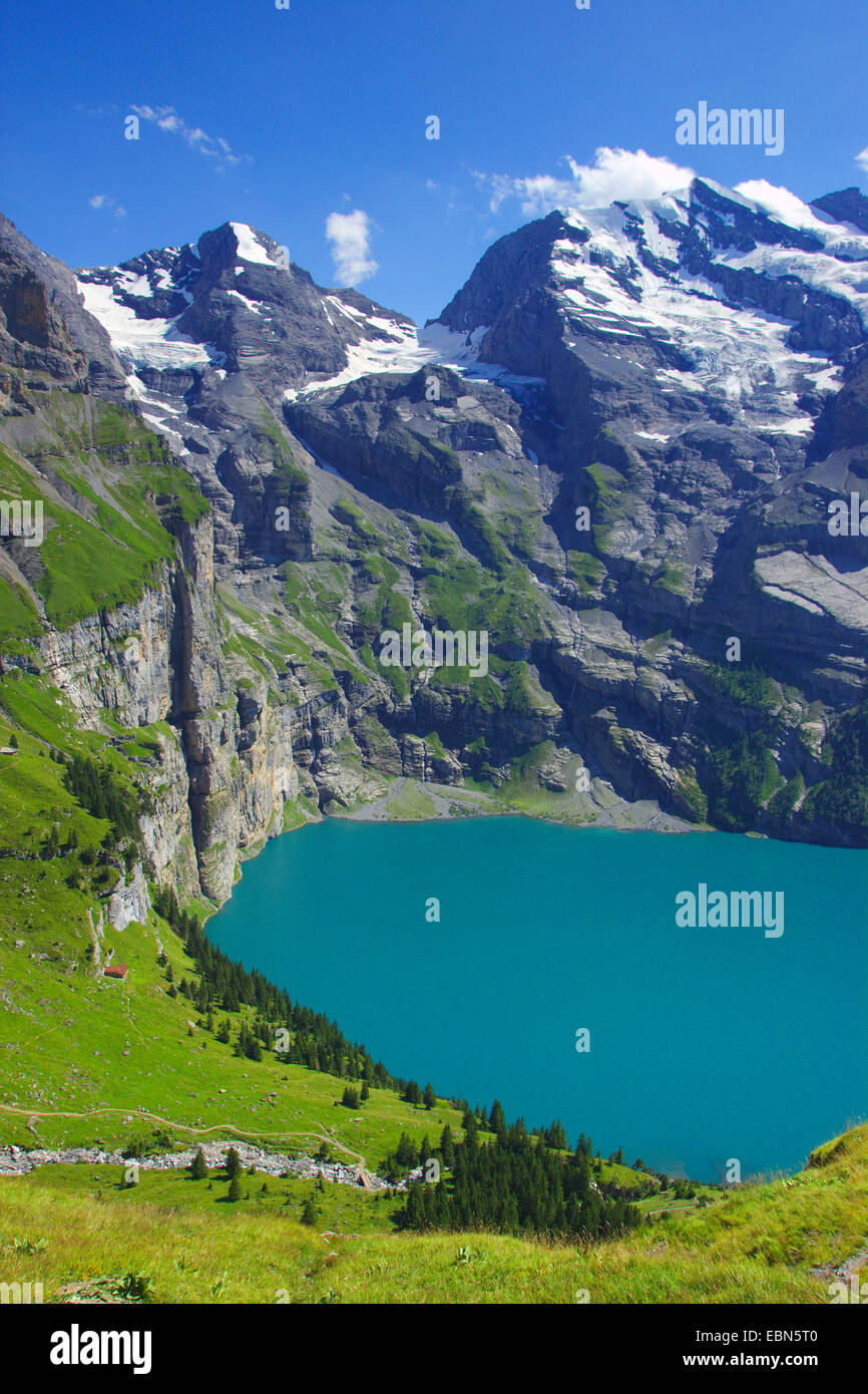 Lake Oeschinen and Doldenhorn near Kandersteg, Switzerland - Stock Image
