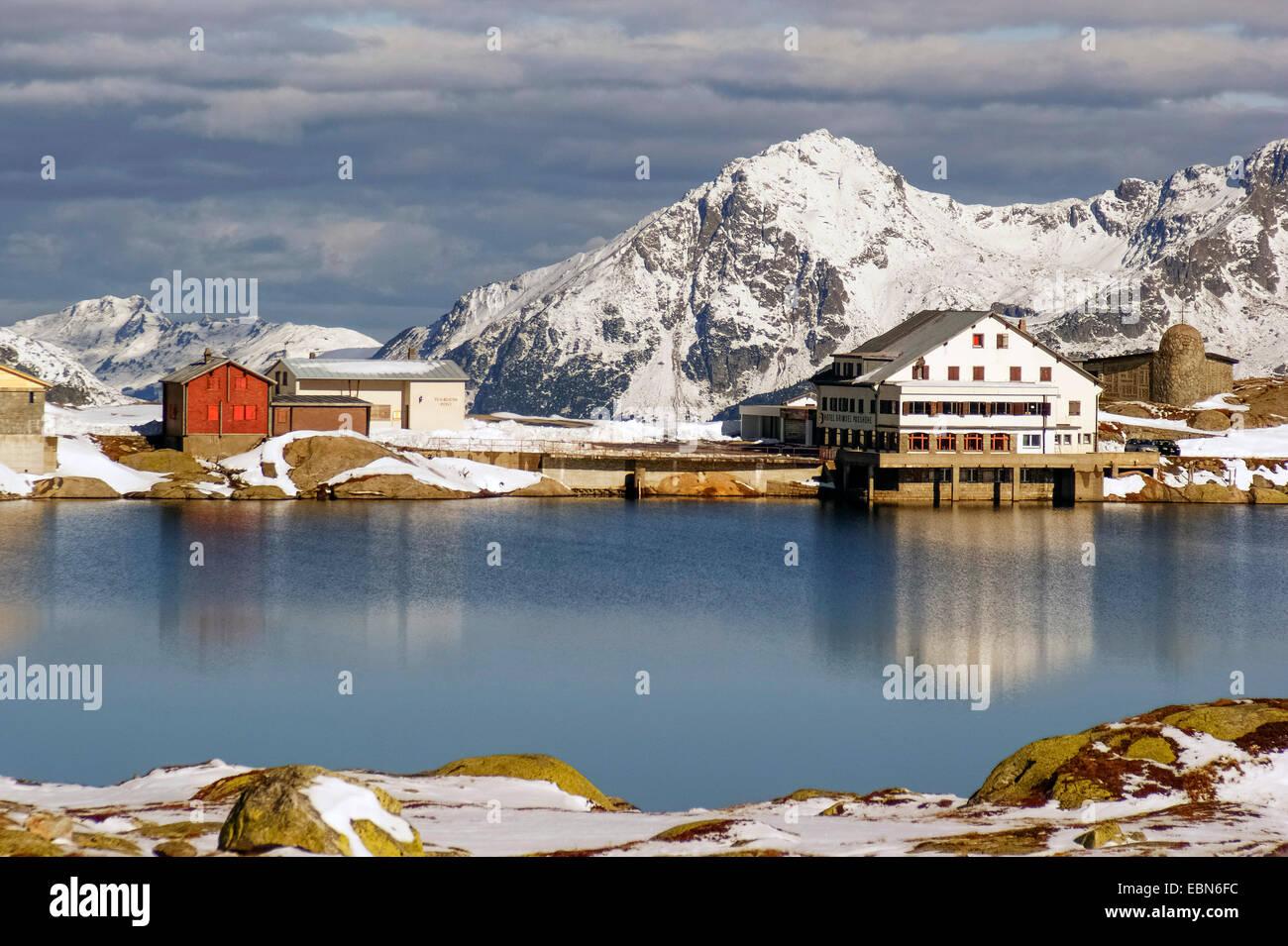 Grimsel Pass and mountain lake, Switzerland, Valais, Oberwallis - Stock Image