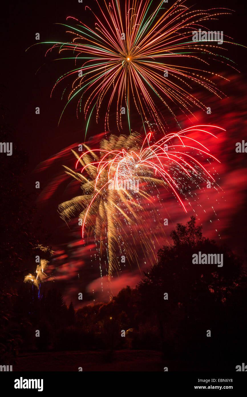 colourful fireworks, Germany, Bavaria - Stock Image