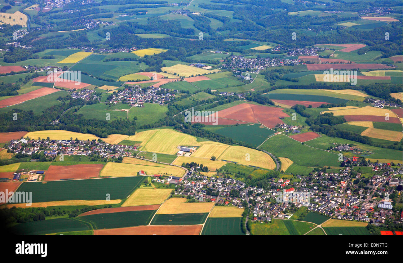 spoiled landscape in Bergisches Land, aerial photo, Germany, North Rhine-Westphalia - Stock Image