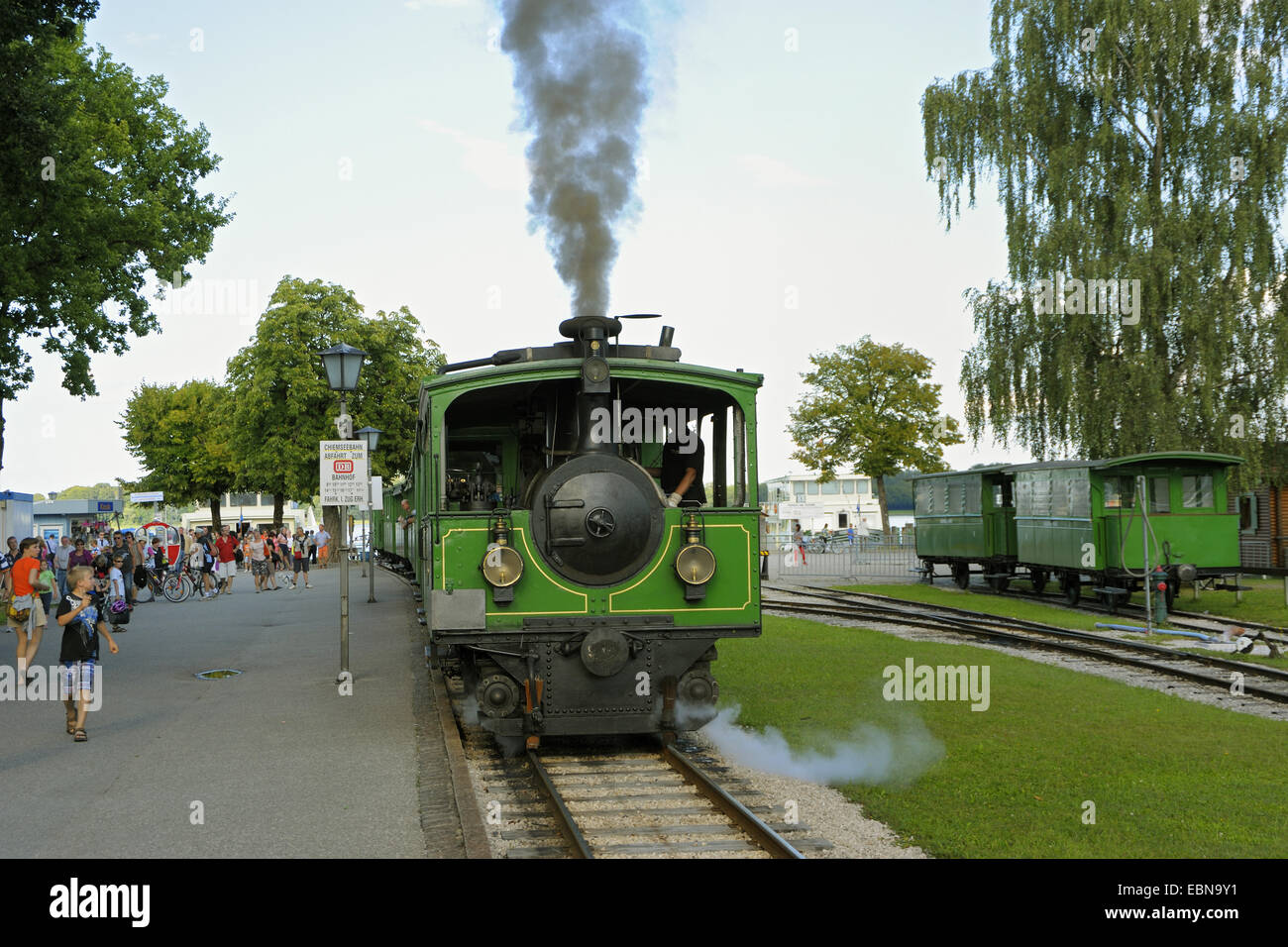 Chiemsee Railway in Prien, narrow-gauge railway between Prien and Chiemsee jetty since 1887, Germany, Bavaria, Chiemgau, Stock Photo