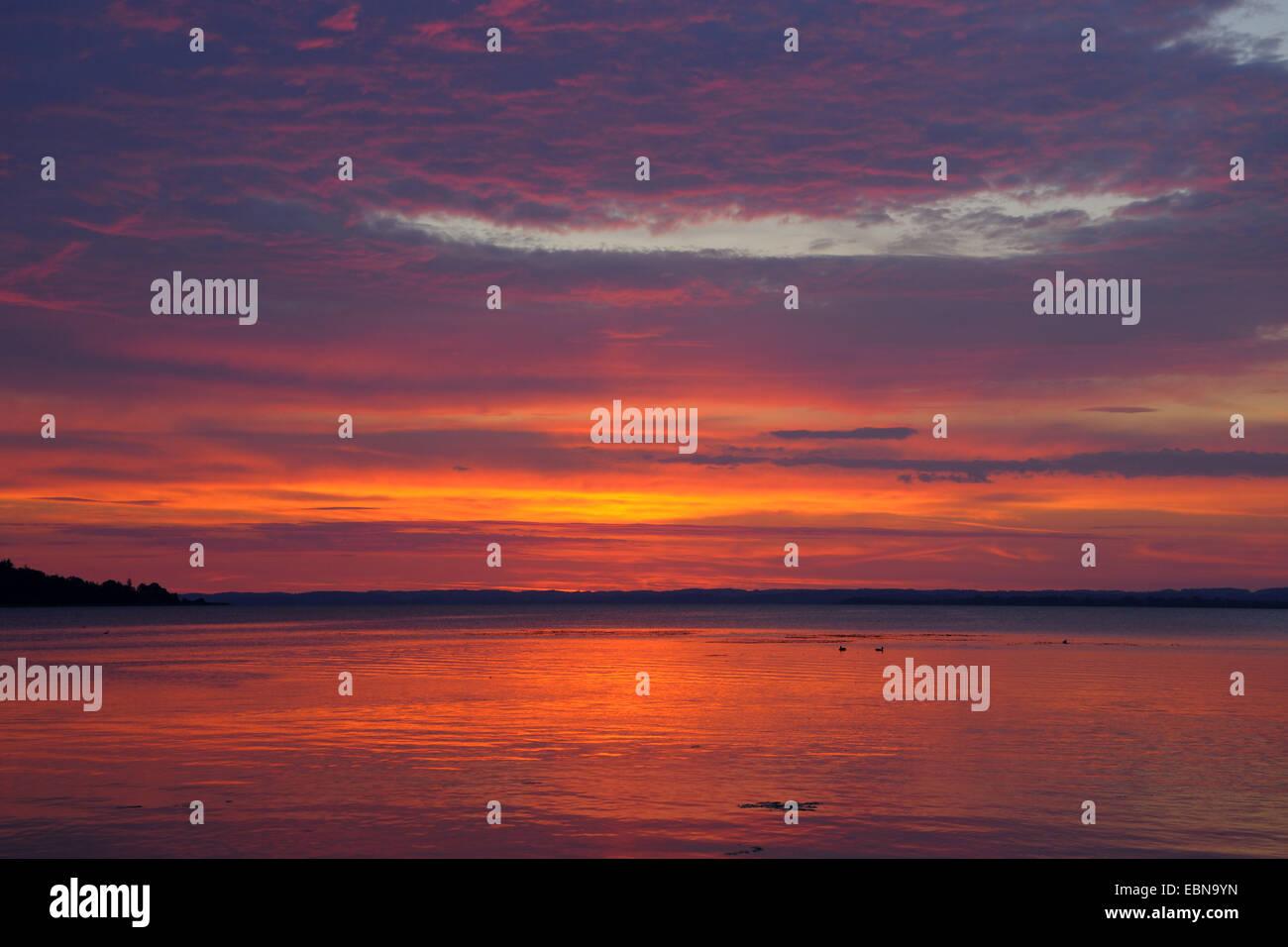 sunrise at Lake Chiemsee, Germany, Bavaria, Prien Stock Photo