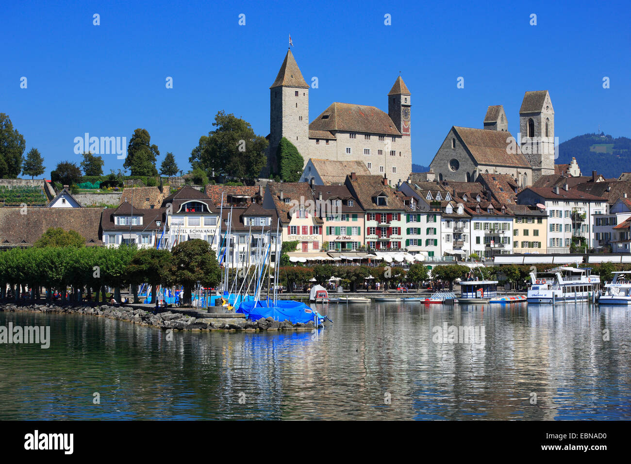 rapperswil Castle at Lake Zurich, Switzerland - Stock Image