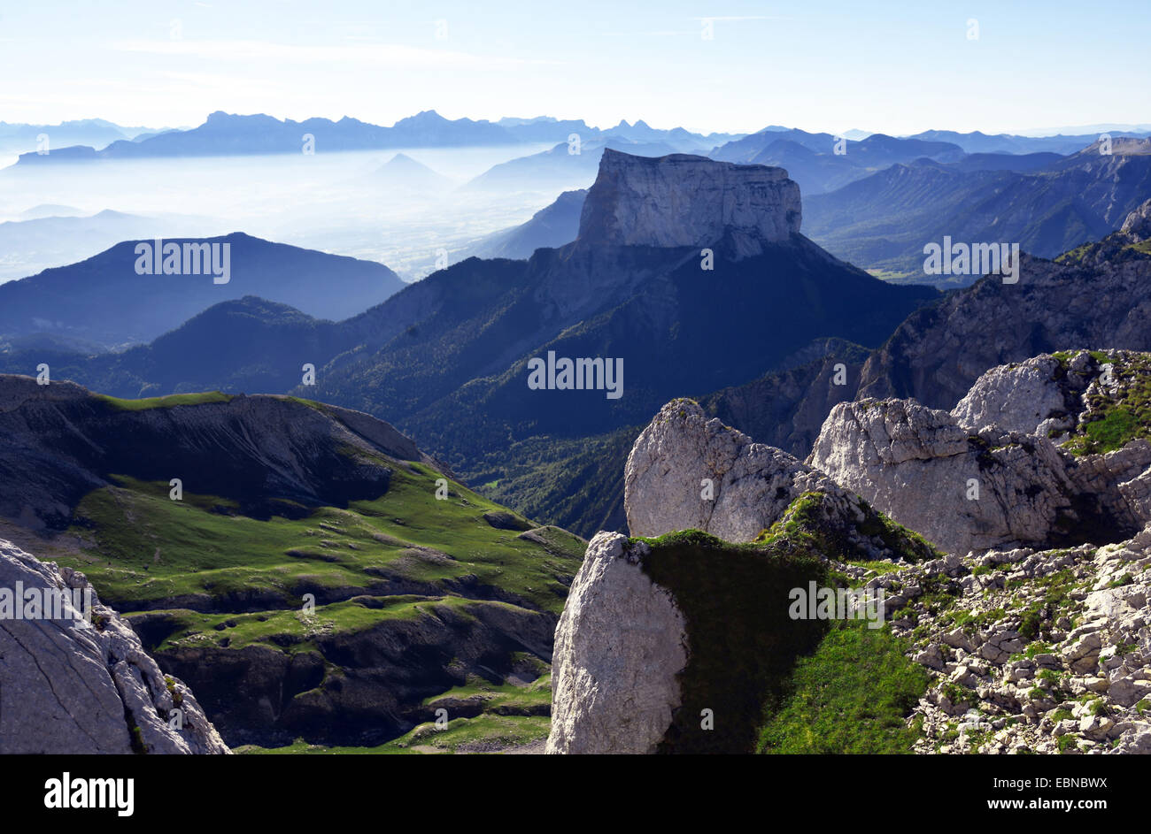 view to Mont Aiguille in natural park of Vercors, France - Stock Image