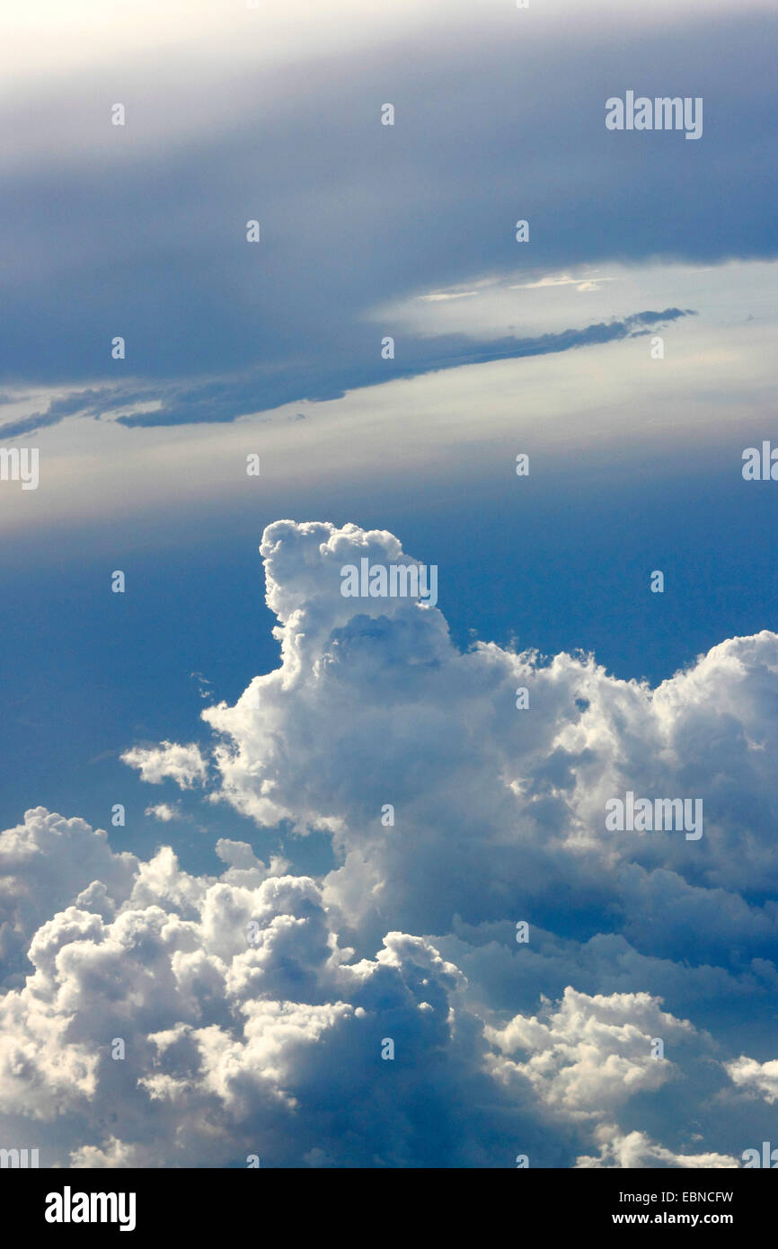 aerial view to cloud formation, USA - Stock Image