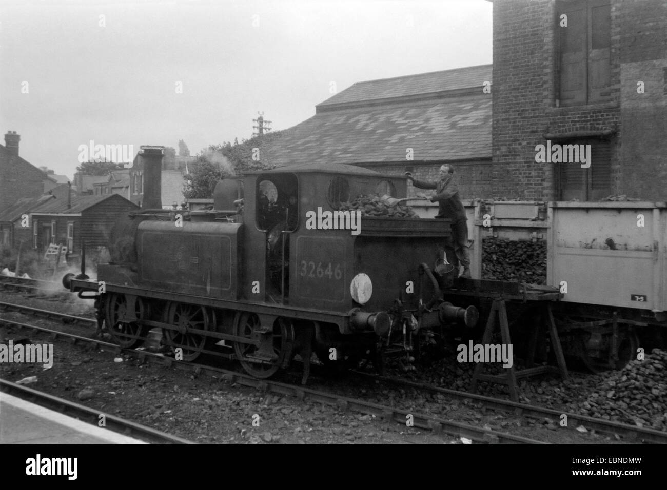 original steam locomotive class a1x number 32646 at havant hampshire england uk during the 1960s Stock Photo