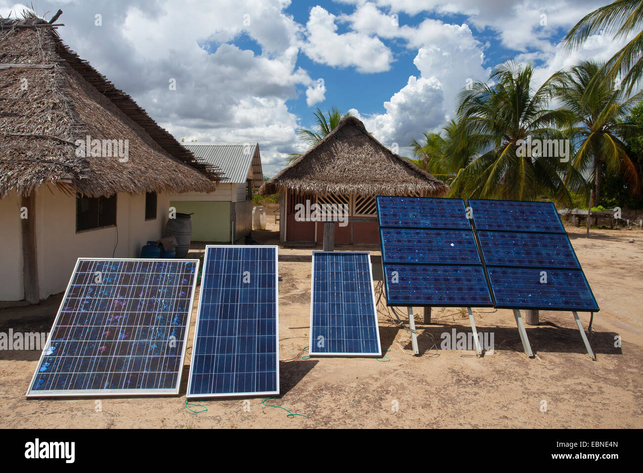 SOLAR PANELS, Rupunau (Wapishana Indian village), south Rupununi, Guyana, South America. - Stock Image