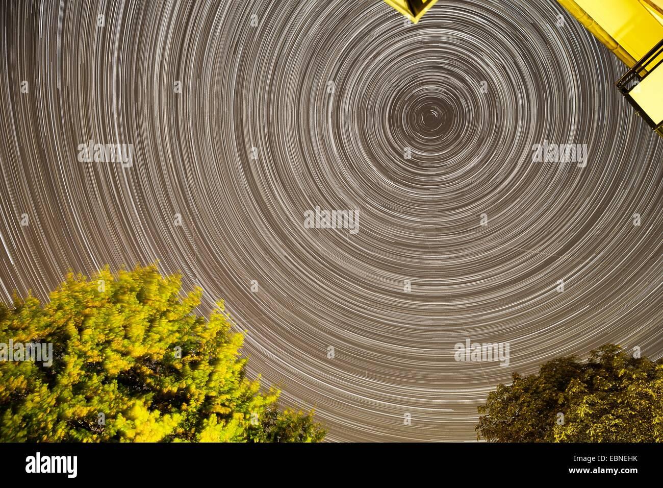 star trails above Hamburg, Germany, Hamburg - Stock Image