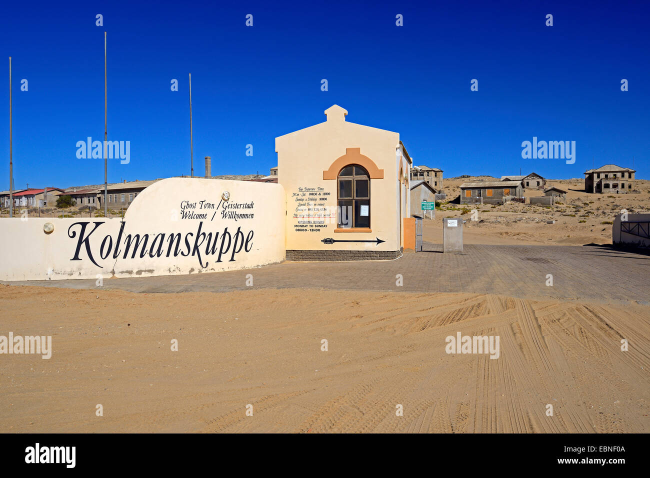 entrance of the ghosttown Kolmanskop, a former diamond mine near Luederitz, Namibia, Kolmanskop - Stock Image