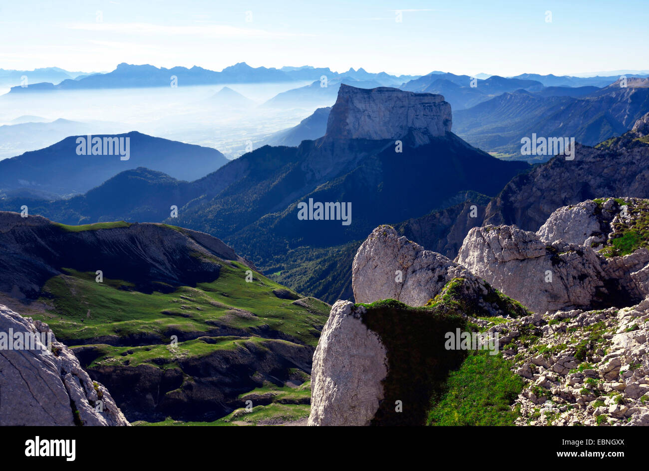 Mont Aiguille in the morning, France, Isere, Vercors National Park - Stock Image