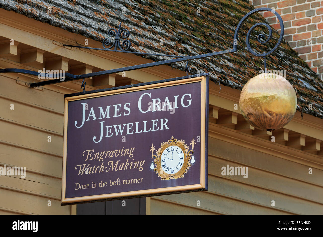 Jeweller in Colonial Williamsburg, Virginia, USA - Stock Image