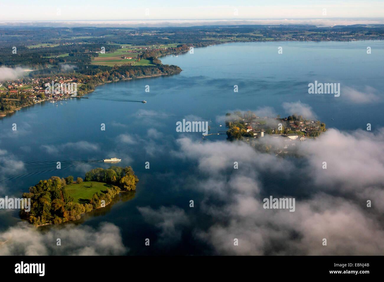 aerial view to Fraueninsel and Krautinsel, Germany, Bavaria, Lake Chiemsee Stock Photo