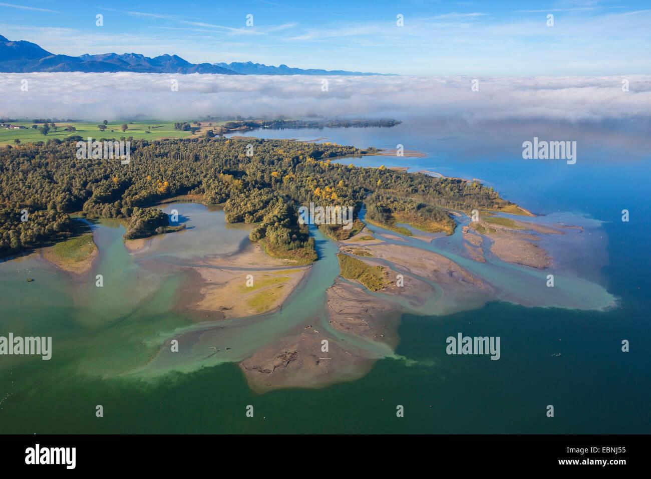 Chiemsee and Tiroler Achen river delta, Germany, Bavaria, Lake Chiemsee Stock Photo